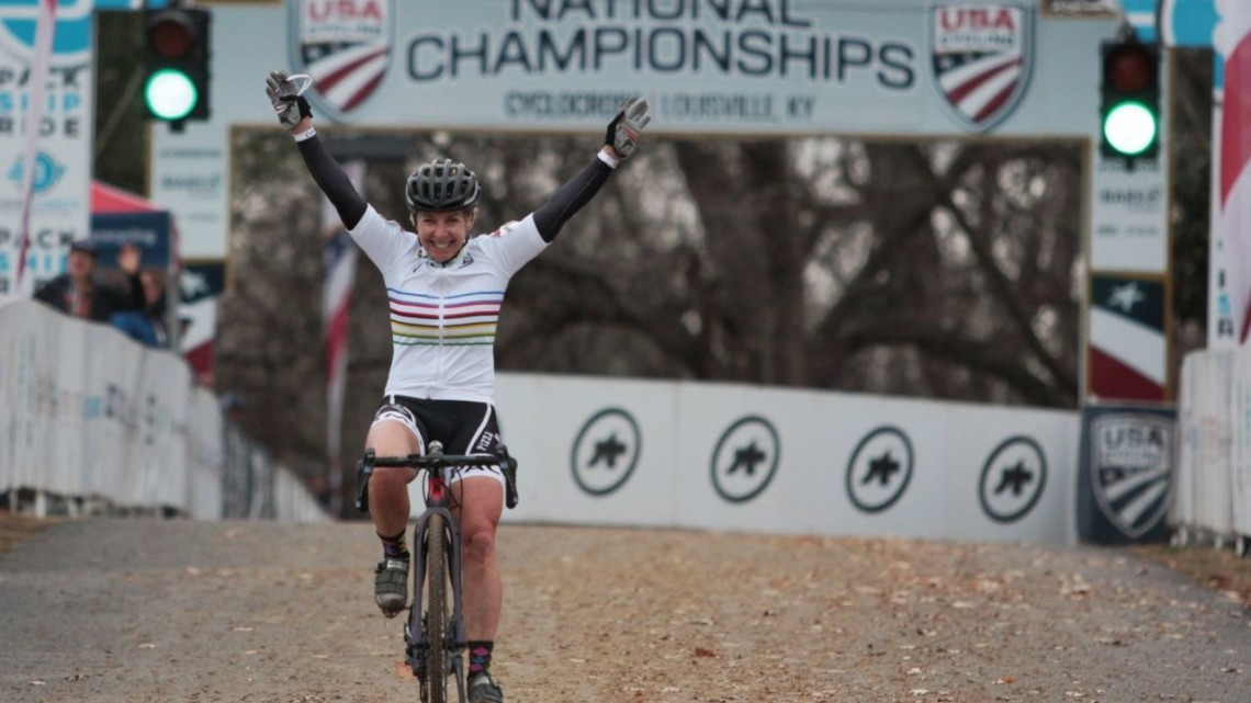 Laura Van Gilder won another national championship on Thursday. Masters Women 55-59. 2018 Cyclocross National Championships, Louisville, KY. © A. Yee / Cyclocross Magazine