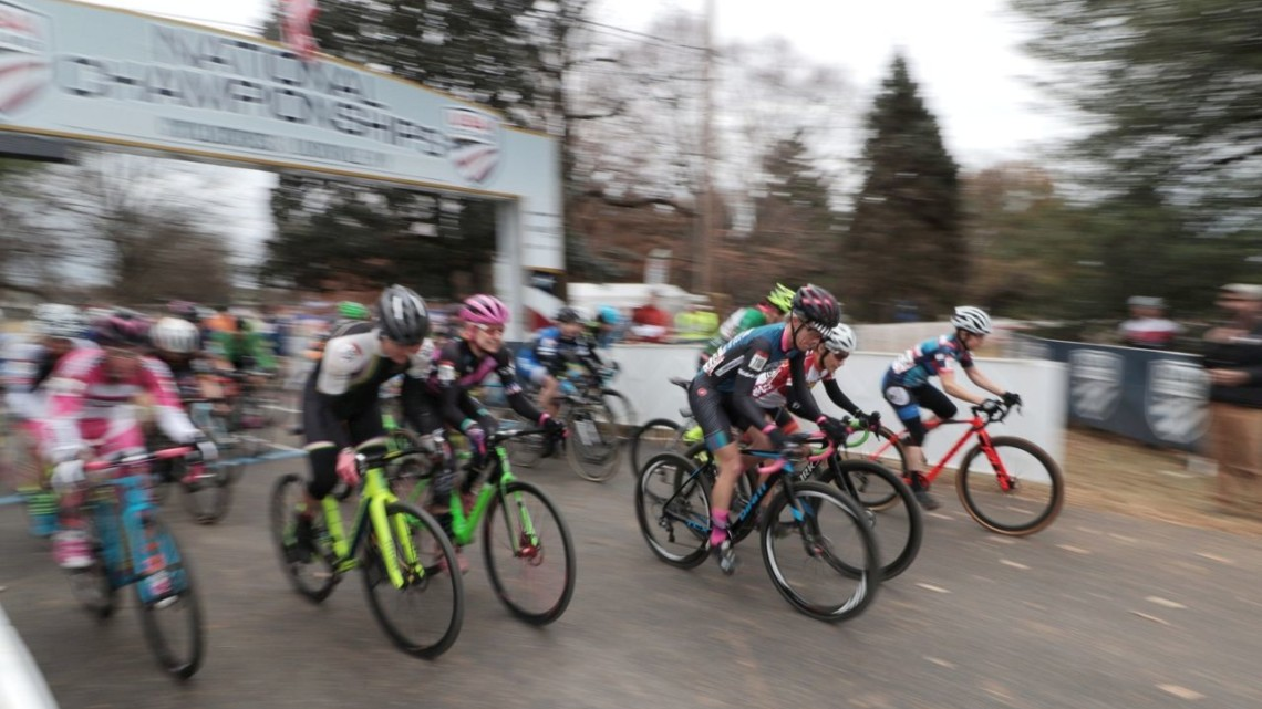 Masters Women 45-49 holeshot. Masters Women 45-49. 2018 Cyclocross National Championships, Louisville, KY. © A. Yee / Cyclocross Magazine