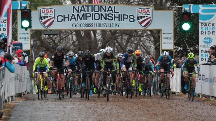 Masters Men 40-44 holeshot. Masters Men 40-44. 2018 Cyclocross National Championships, Louisville, KY. © A. Yee / Cyclocross Magazine