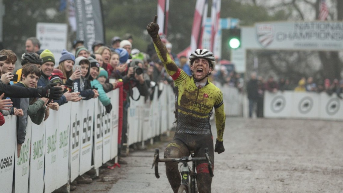 Alex Morton ran away in the third lap to win the Junior Men title. Junior Men 17-18. 2018 Cyclocross National Championships, Louisville, KY. © A. Yee / Cyclocross Magazine