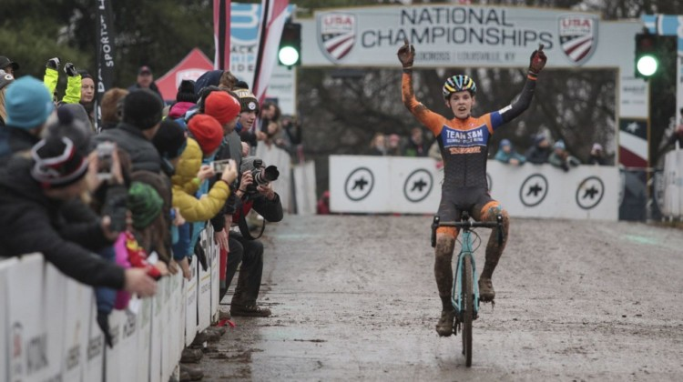 Clara Honsinger dominated en route to a win in the U23 race on Sunday. U23/Junior Women. 2018 Cyclocross National Championships, Louisville, KY. © A. Yee / Cyclocross Magazine