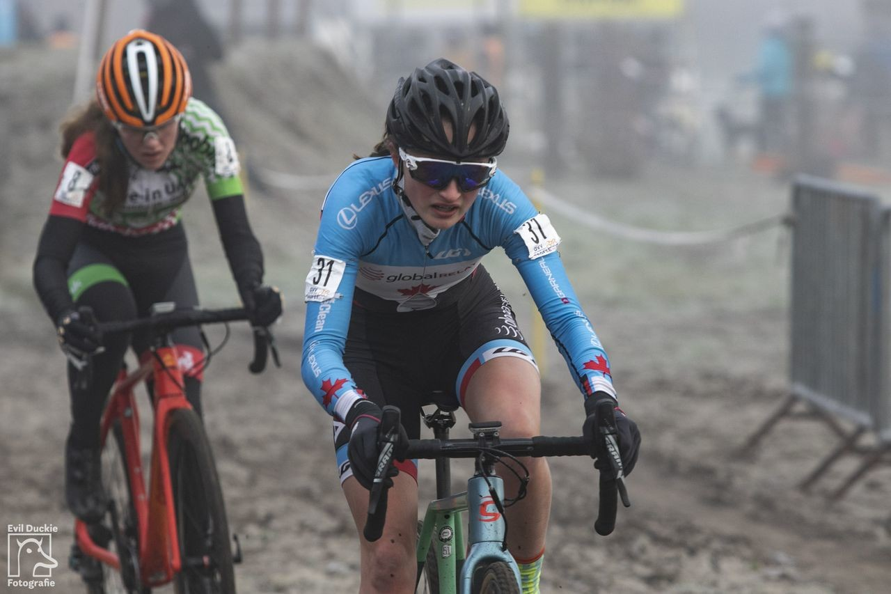 Magdeleine Vallieres Mill of Canada finished fifth. 2018 Helen100 Trophy Junior Women Race, Azencross Loenhout. © Hans van der Maarel