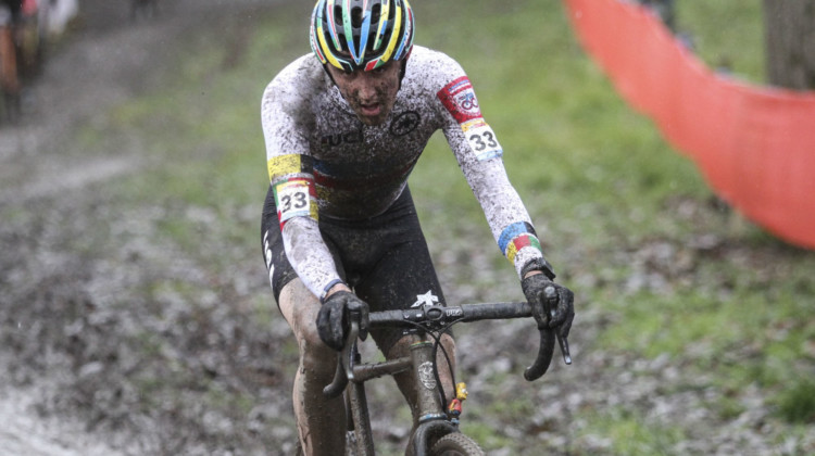 Gage Hecht finished just outside the Top 10 in Namur. 2018 World Cup Namur. © B. Hazen / Cyclocross Magazine