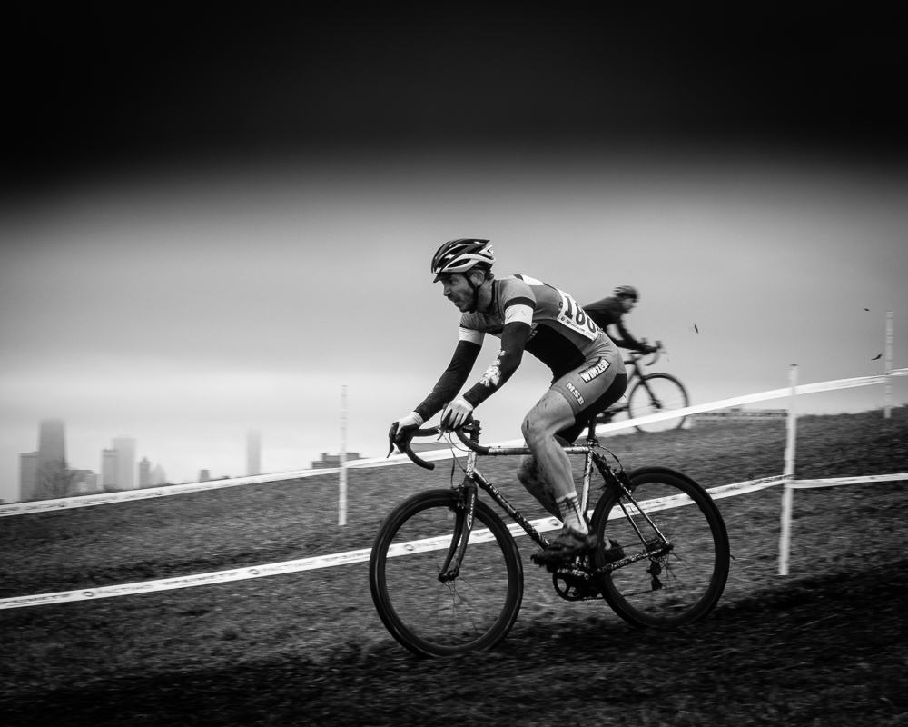 Cameron Pease takes a descent. 2018 Illinois State Cyclocross Championships, Montrose Harbor. © Timothy Gray