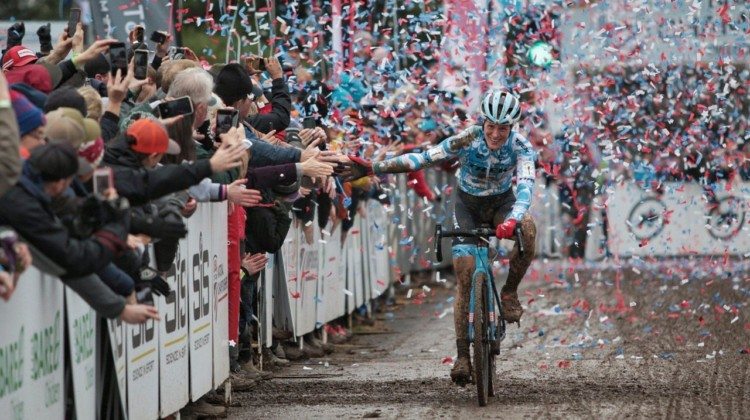 Katie Compton gets the confetti treatment for her 15th-straight national championship. Elite Women. 2018 Cyclocross National Championships, Louisville, KY. © A. Yee / Cyclocross Magazine