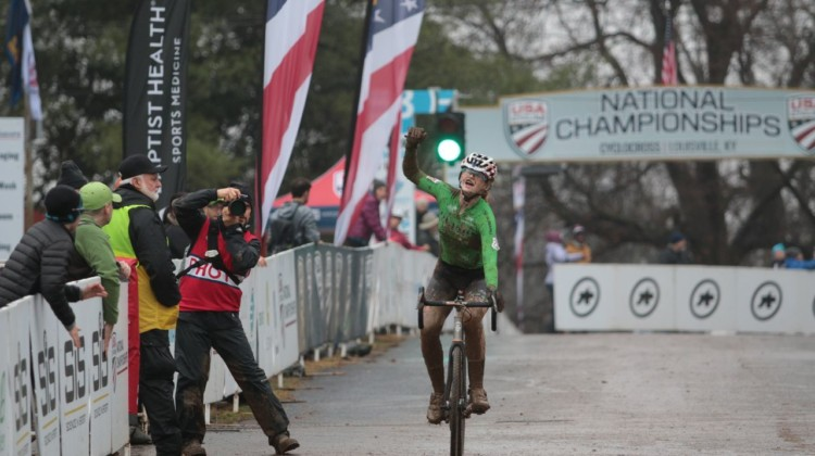 Lauren Zoerner celebrates her comeaback win in the Junior Women 15-16 race .Junior Women 15-16. 2018 Cyclocross National Championships, Louisville, KY. © A. Yee / Cyclocross Magazine