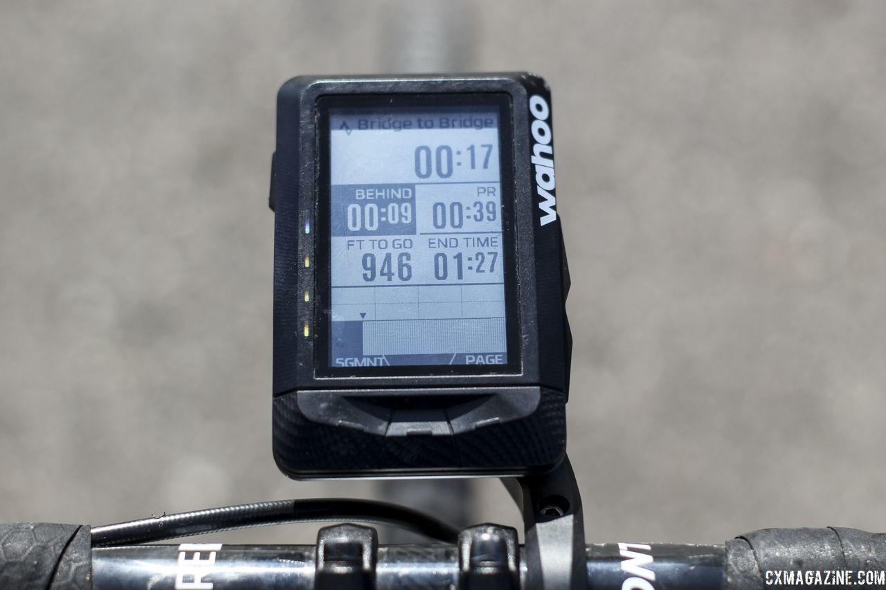 The Elemnt gives you all the data you need for Strava Live segments to take the QOM/KOM. Wahoo Elemnt GPS Cycling Computer. © Z. Schuster / Cyclocross Magazine