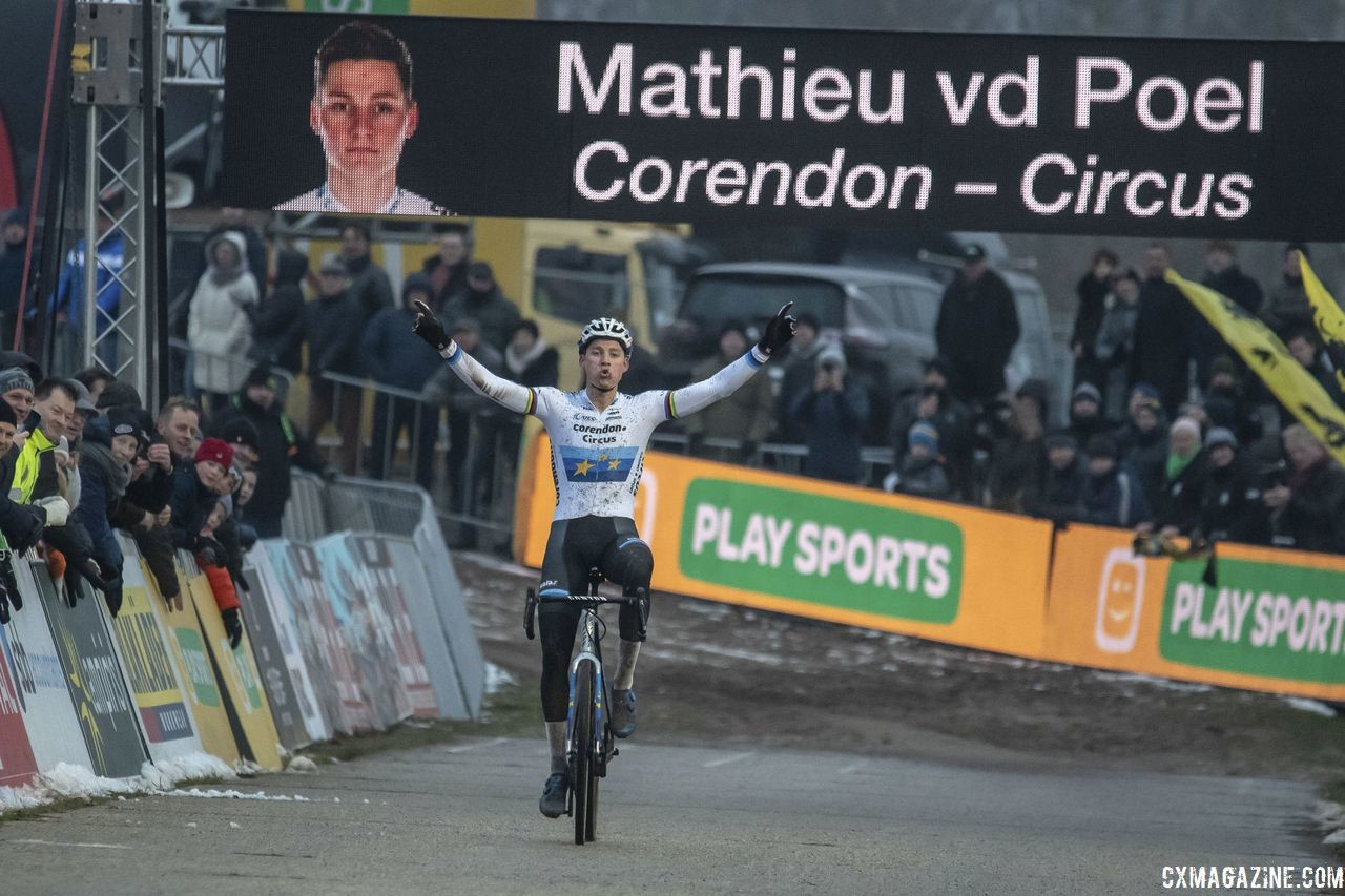 Mathieu van der Poel, here at Zonhoven, won his sixth Superprestige of the season at Diegem. 2018 Superprestige Zonhoven. © B. Hazen / Cyclocross Magazine