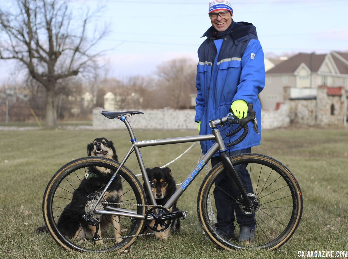 Dag Selander poses with the author's two dogs. Bjorn Selander's Bingham Built Titanium Cyclocross Bike. © Z. Schuster / Cyclocross Magazine
