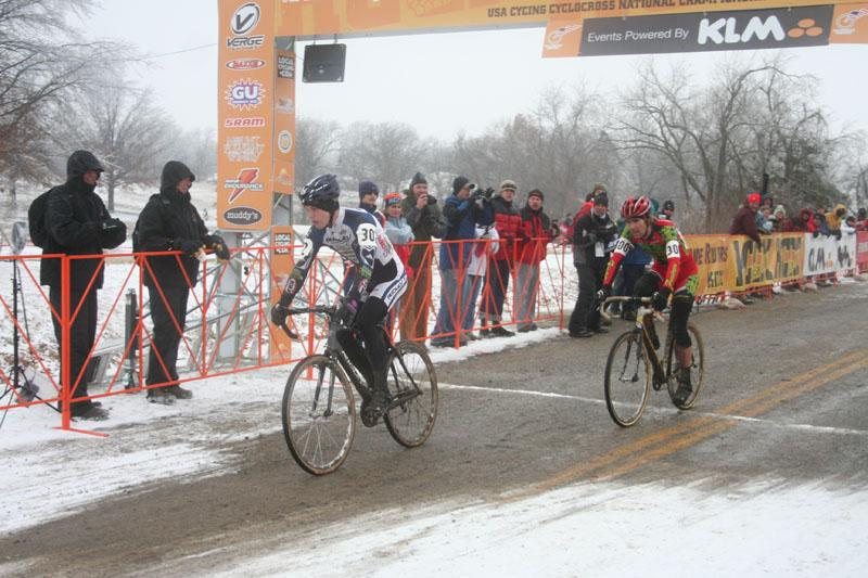 Bjorn Selander won the 2007 U23 Nationals in a sprint against Jamey Driscoll © Cyclocross Magazine