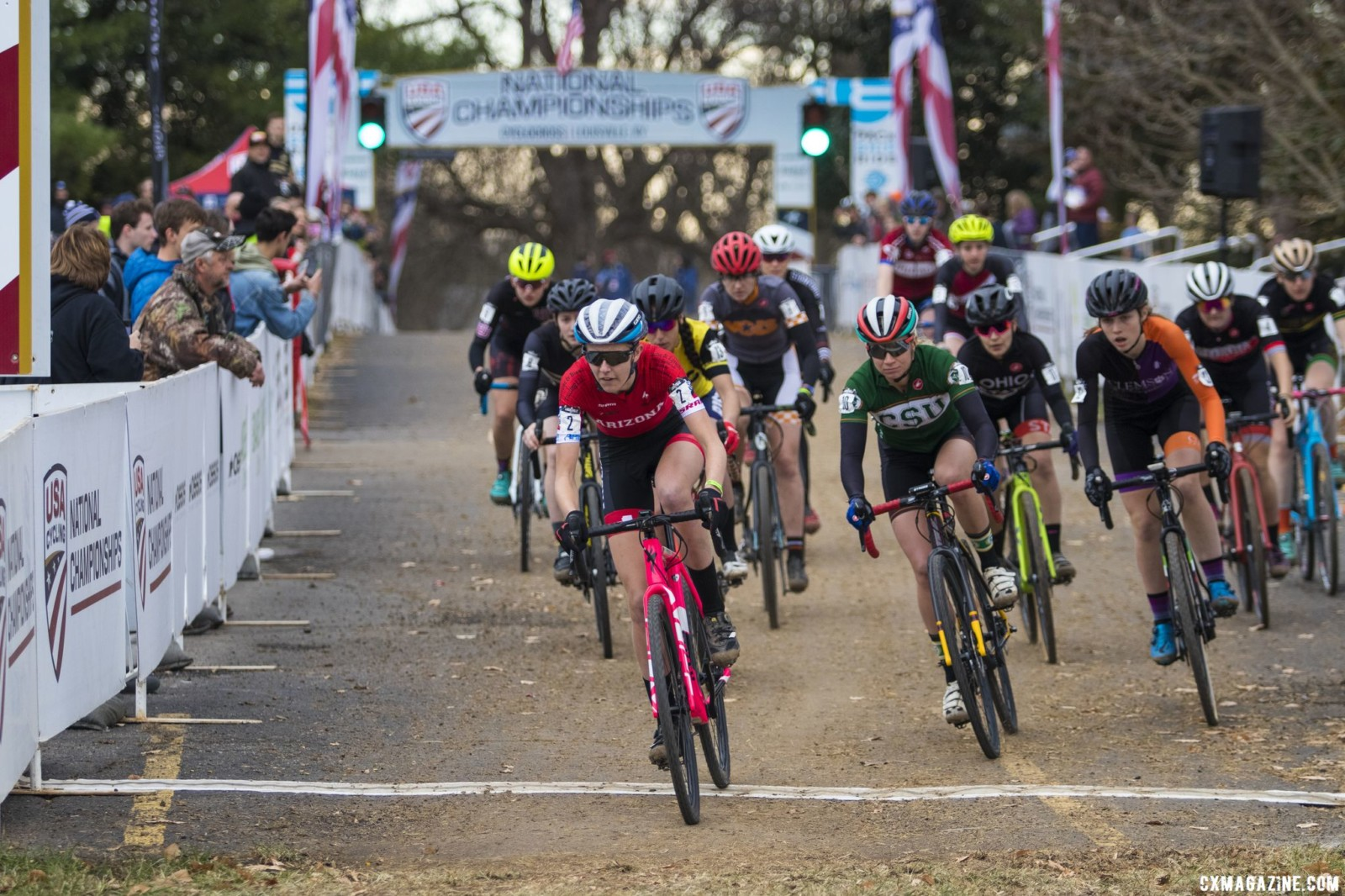 Cara Oneill led off the pavement, but Rossi was close behind. Collegiate Club Women. 2018 Cyclocross National Championships, Louisville, KY. © A. Yee / Cyclocross Magazine