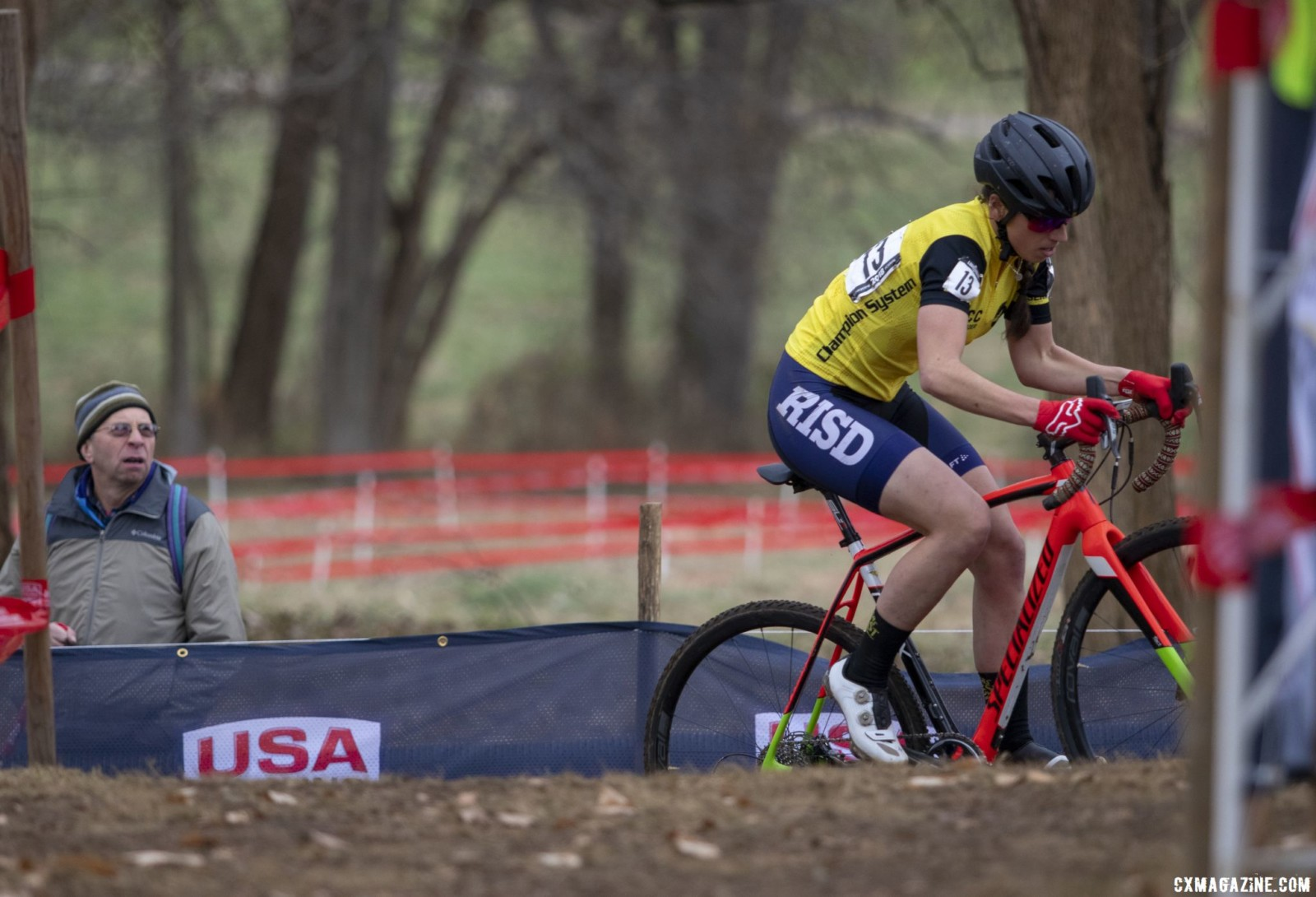 Rossi led Oneill into the technical off camber. Collegiate Club Women. 2018 Cyclocross National Championships, Louisville, KY. © A. Yee / Cyclocross Magazine