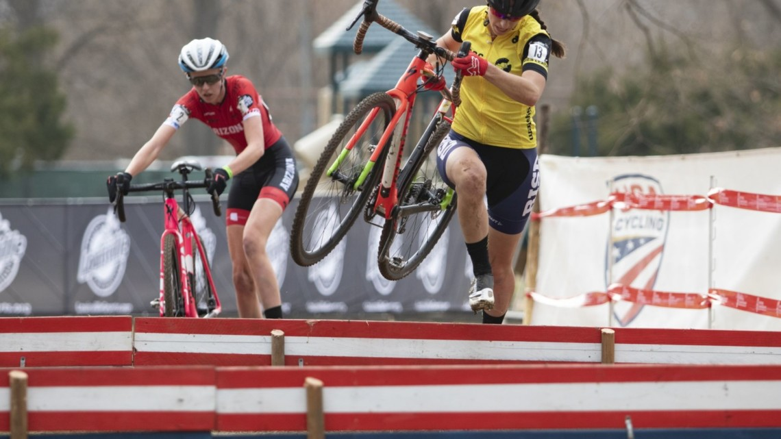 Rossi led into the barriers for the final time. Collegiate Club Women. 2018 Cyclocross National Championships, Louisville, KY. © A. Yee / Cyclocross Magazine