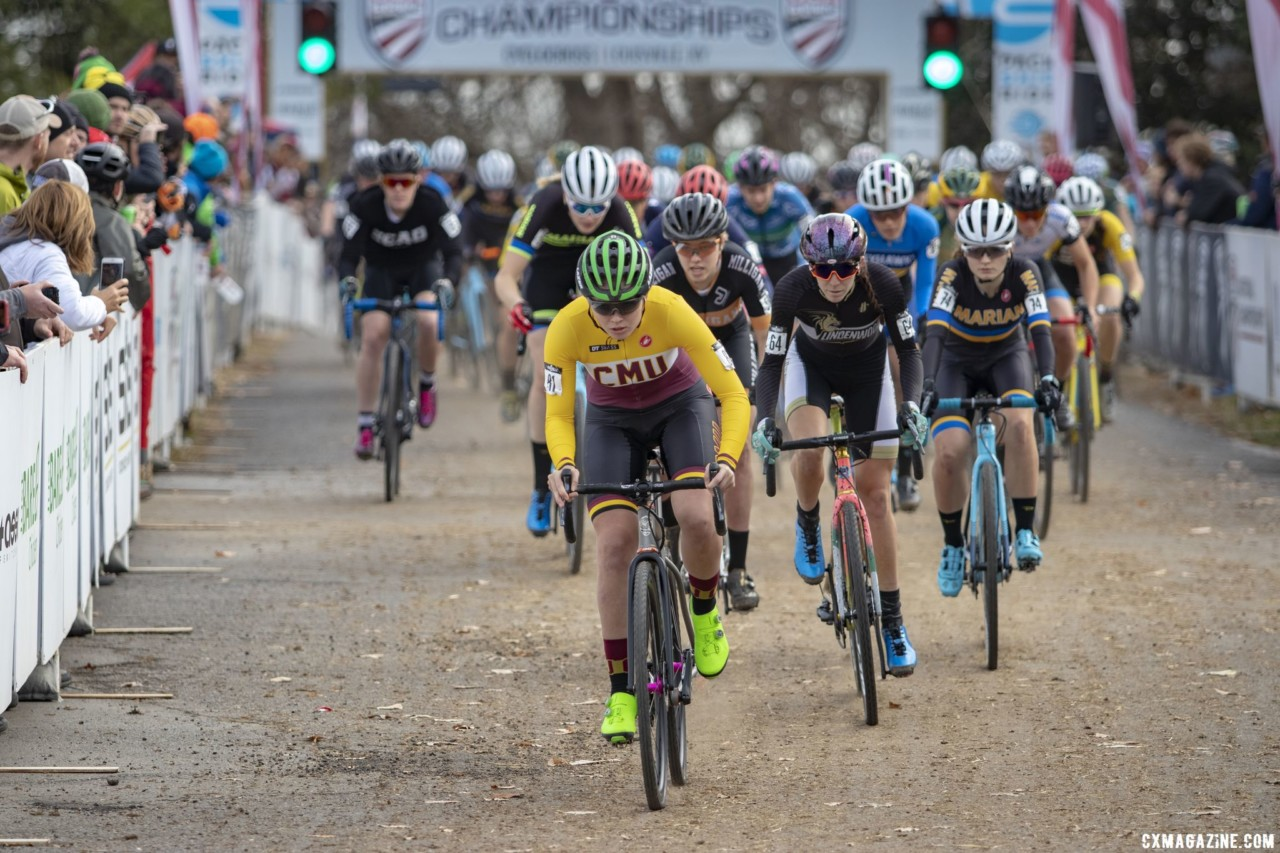 Taylor Ramsay took the Varsity holeshot. Collegiate Varsity Women. 2018 Cyclocross National Championships, Louisville, KY. © A. Yee / Cyclocross Magazine