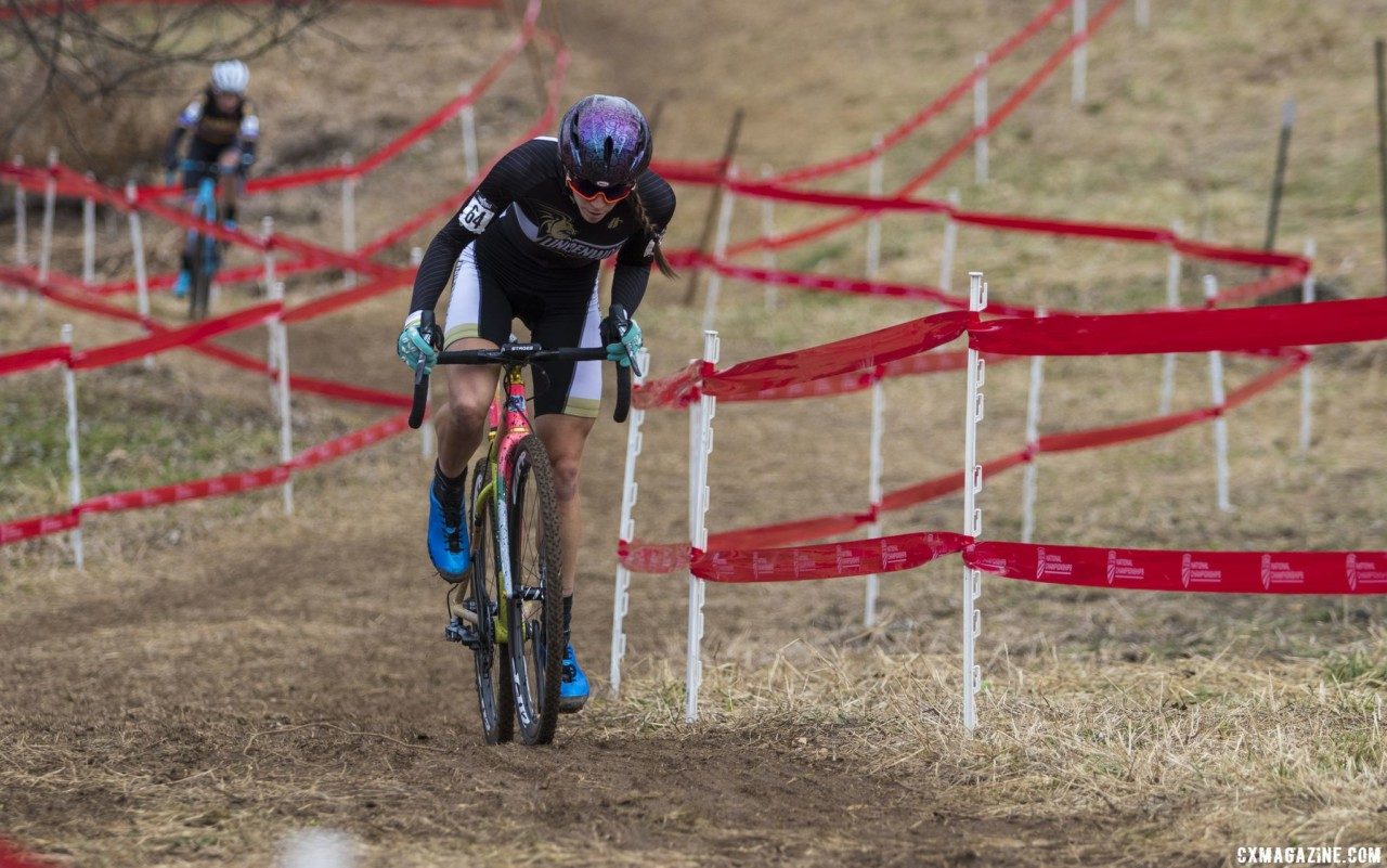 Runnels was pursued by a charging Emma Swartz for the majority of the race. Collegiate Varsity Women. 2018 Cyclocross National Championships, Louisville, KY. © A. Yee / Cyclocross Magazine