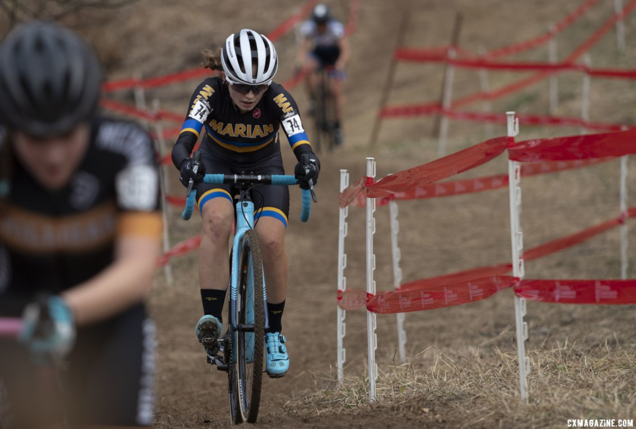 Emma Swartz powers up the last climb. Collegiate Varsity Women. 2018 Cyclocross National Championships, Louisville, KY. © A. Yee / Cyclocross Magazine