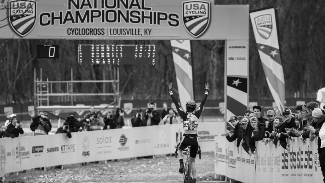 After finishin second last year, Runnels came to Louisville to win. Collegiate Varsity Women. 2018 Cyclocross National Championships, Louisville, KY. © A. Yee / Cyclocross Magazine