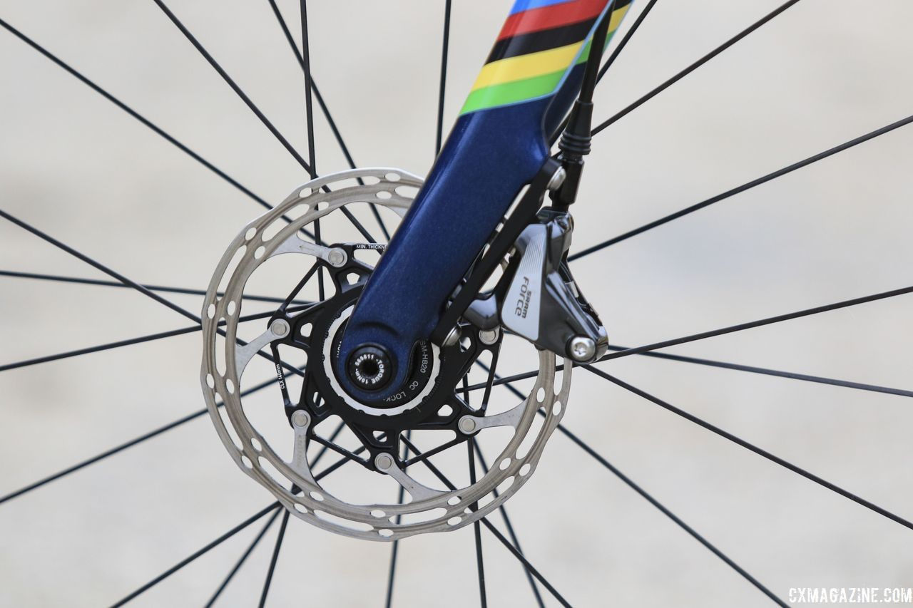 Richards stopped using SRAM Force HRD flat mount calipers and Centerline rotors. Evie Richards' 2018 Trek Boone Cyclocross Bike. © D. Mable / Cyclocross Magazine