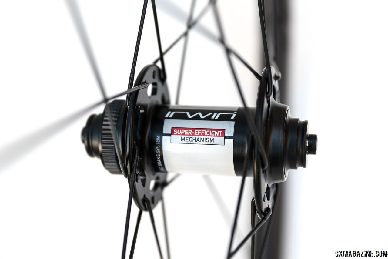 The wheels are quick release and thru-axle compatible using end caps. Irwin AON GX 35 Carbon Tubeless Clincher Wheelset. © C. Lee / Cyclocross Magazine