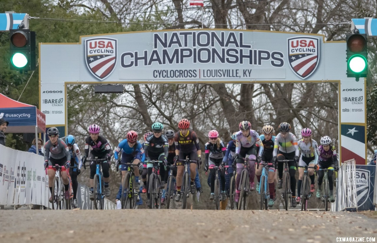 Baby Masters holeshot. Masters Women 30-34. 2018 Cyclocross National Championships, Louisville, KY. © A. Yee / Cyclocross Magazine