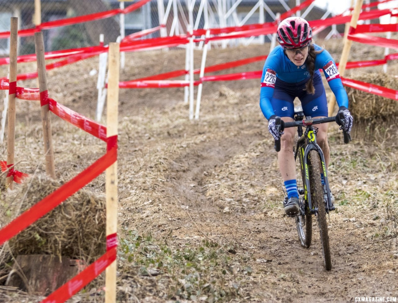 Emily Payonk took second Wednesday. Masters Women 30-34. 2018 Cyclocross National Championships, Louisville, KY. © A. Yee / Cyclocross Magazine