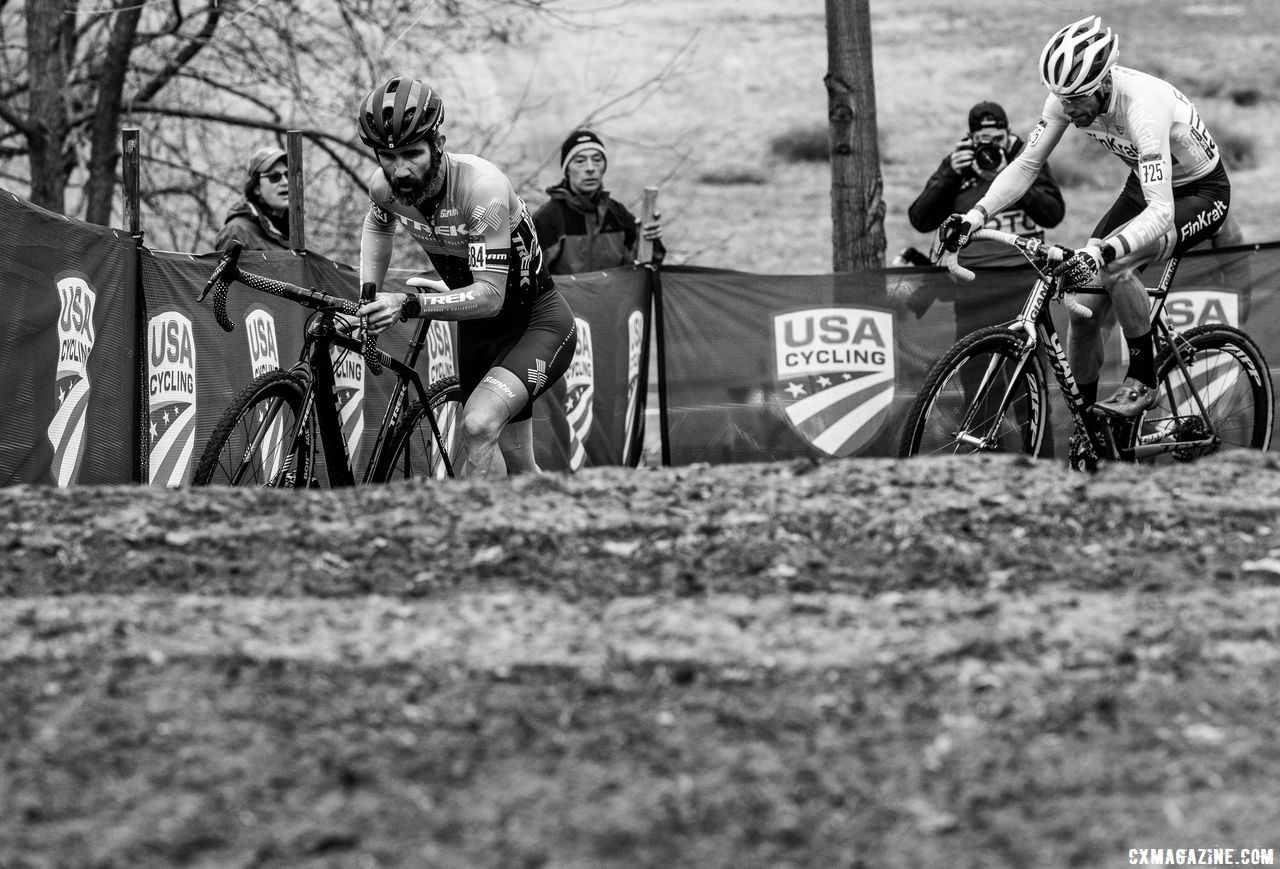 Tim Faia leads Roger Aspholm into the stone steps. He would finish 34 seconds behind the latter. Masters 50-54. 2018 Cyclocross National Championships, Louisville, KY. © A. Yee / Cyclocross Magazine