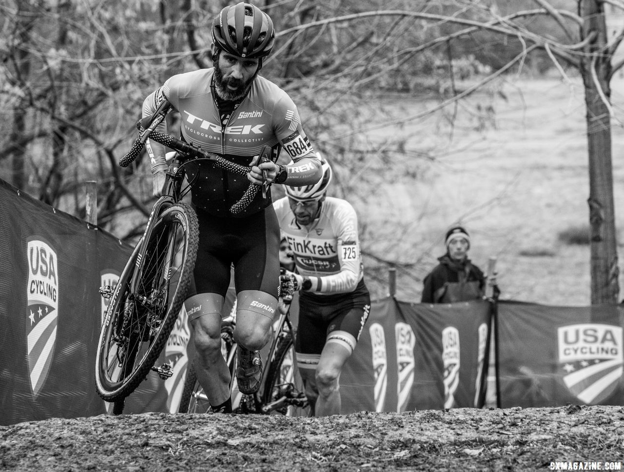 Mud tires and toe spikes were the order of the day. Masters 50-54. 2018 Cyclocross National Championships, Louisville, KY. © A. Yee / Cyclocross Magazine