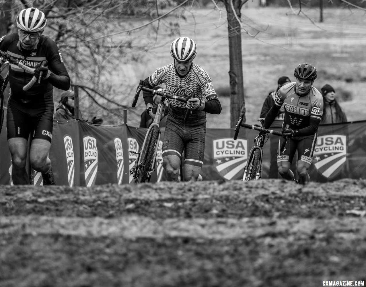 Winner Donald Myrah took on the stone stairs with the eventual podium. Masters 50-54. 2018 Cyclocross National Championships, Louisville, KY. © A. Yee / Cyclocross Magazine