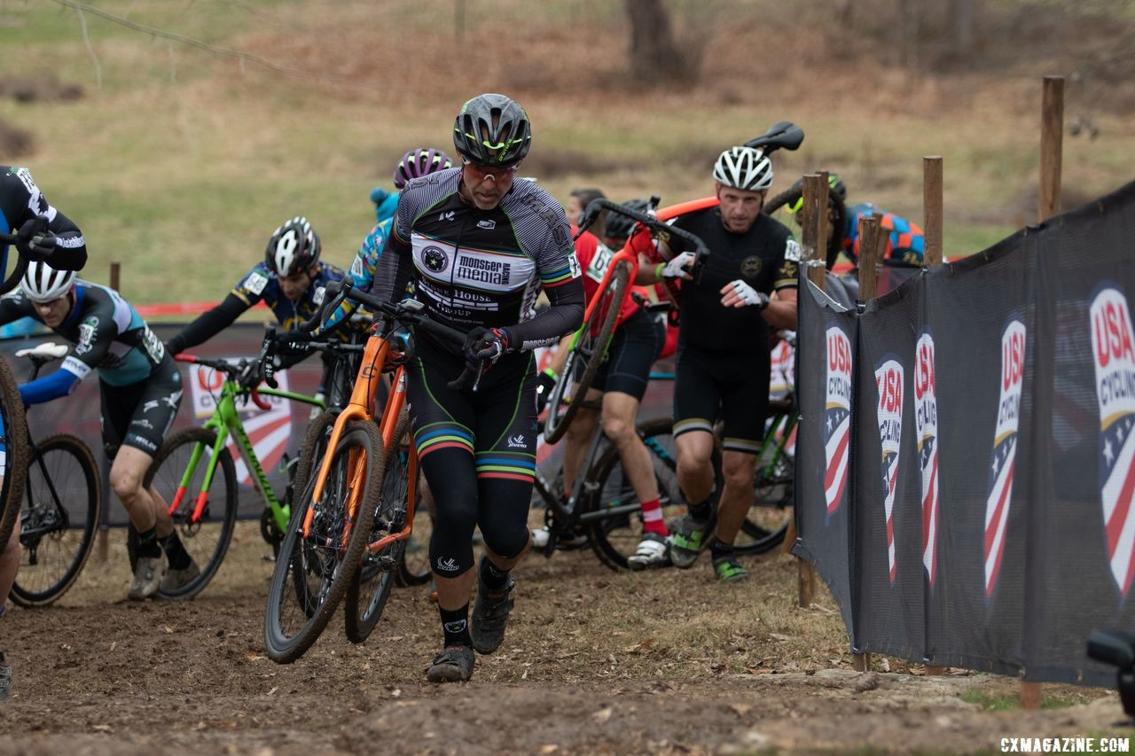 Most elected to run the stairs. The chicane before them created a choke point for traffic, however. Masters 50-54. 2018 Cyclocross National Championships, Louisville, KY. © A. Yee / Cyclocross Magazine