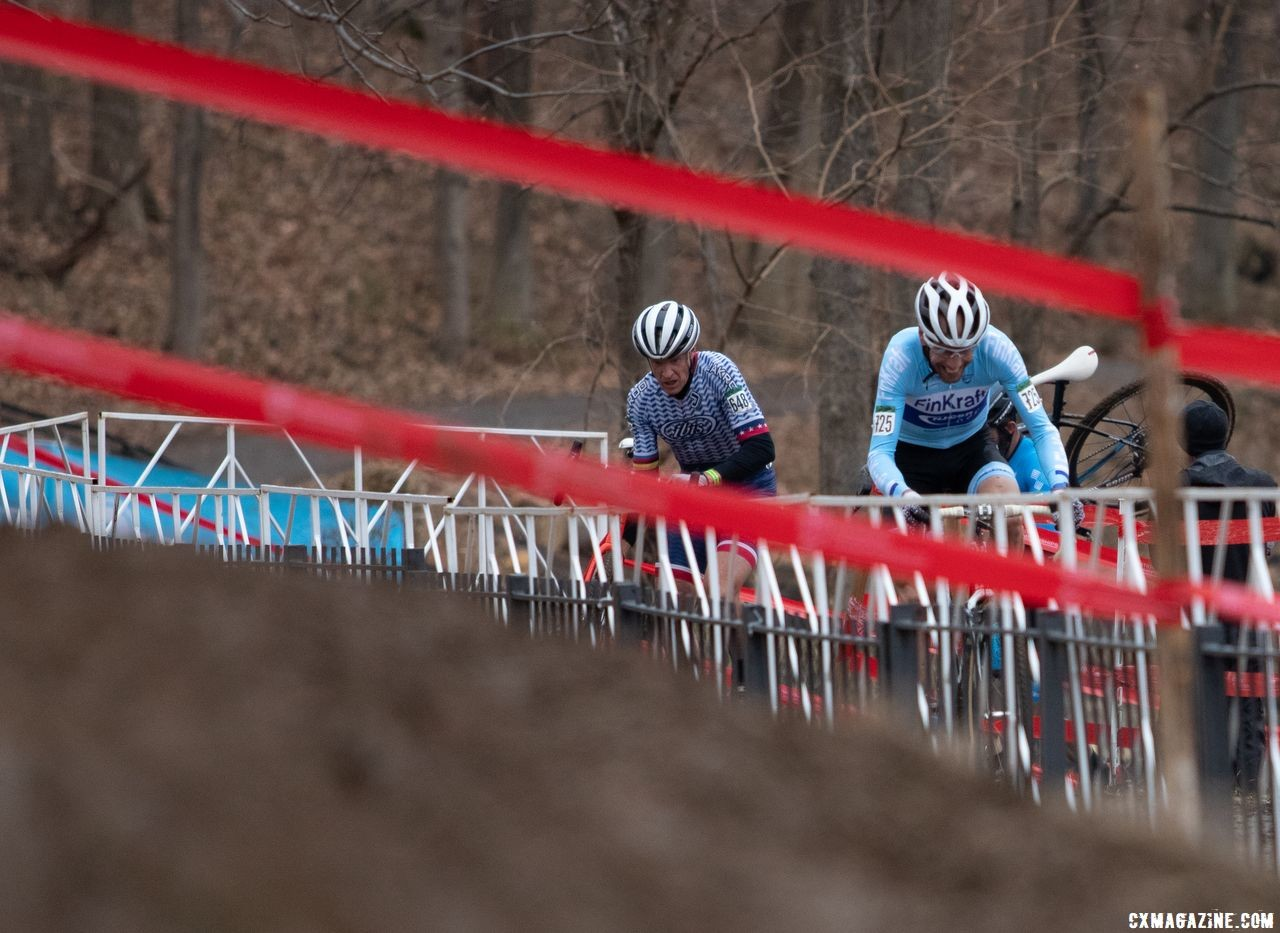 The pavement stretch offers some recovery before the off camber and stairs. Masters 50-54. 2018 Cyclocross National Championships, Louisville, KY. © A. Yee / Cyclocross Magazine
