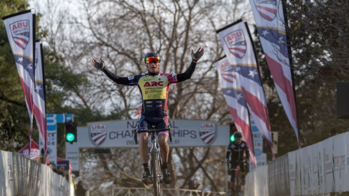 Jay Trojan won the Masters Men 60-64 race on Wednesday. 2018 Cyclocross National Championships, Louisville, KY. © A. Yee / Cyclocross Magazine