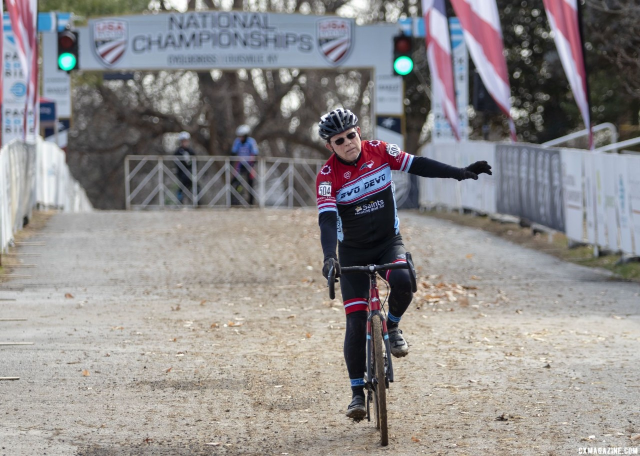 Pauls McKeithan celebrates his 75-79 win. Masters Men, 70+. 2018 Cyclocross National Championships, Louisville, KY. © A. Yee / Cyclocross Magazine