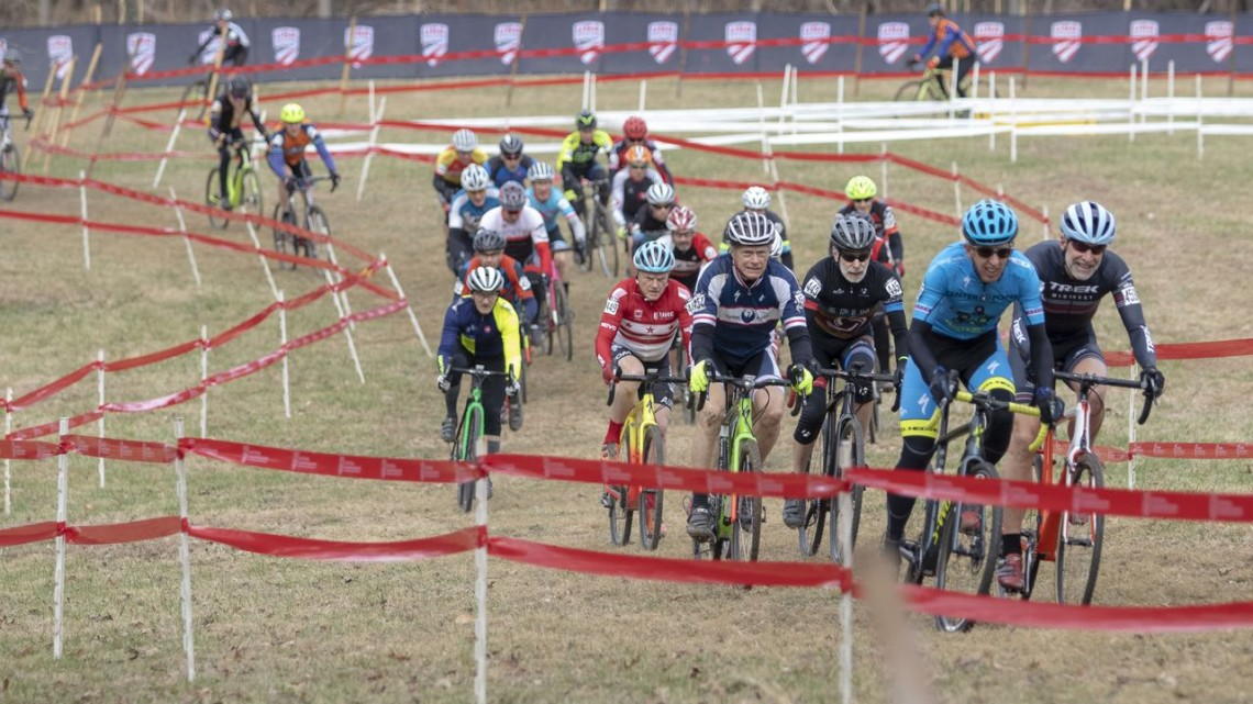 Masters Men get off to a fast start on Wednesday. 2018 Louisville National Championships, Masters Men 65-69. © A. Yee / Cyclocross Magazine