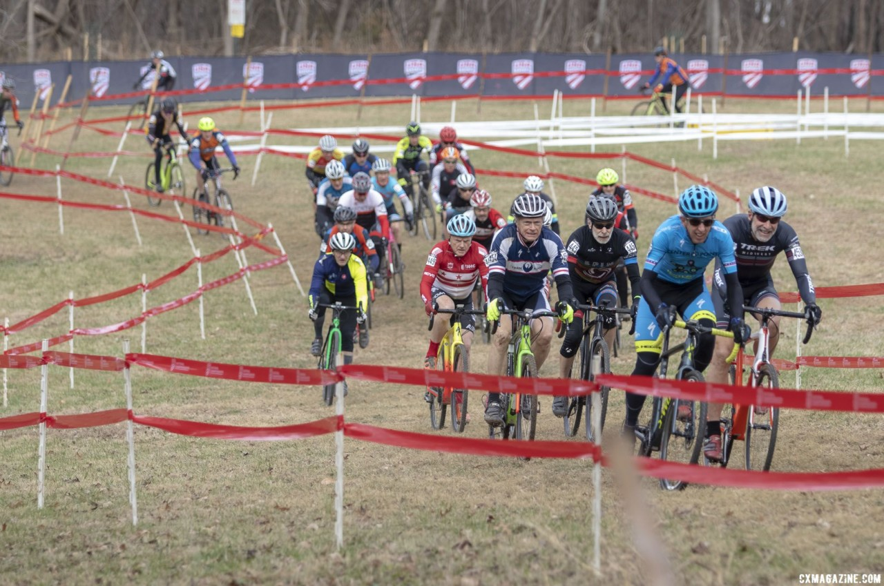 Masters Men 65-69 get underway. 2018 Cyclocross National Championships, Louisville, KY. © A. Yee / Cyclocross Magazine