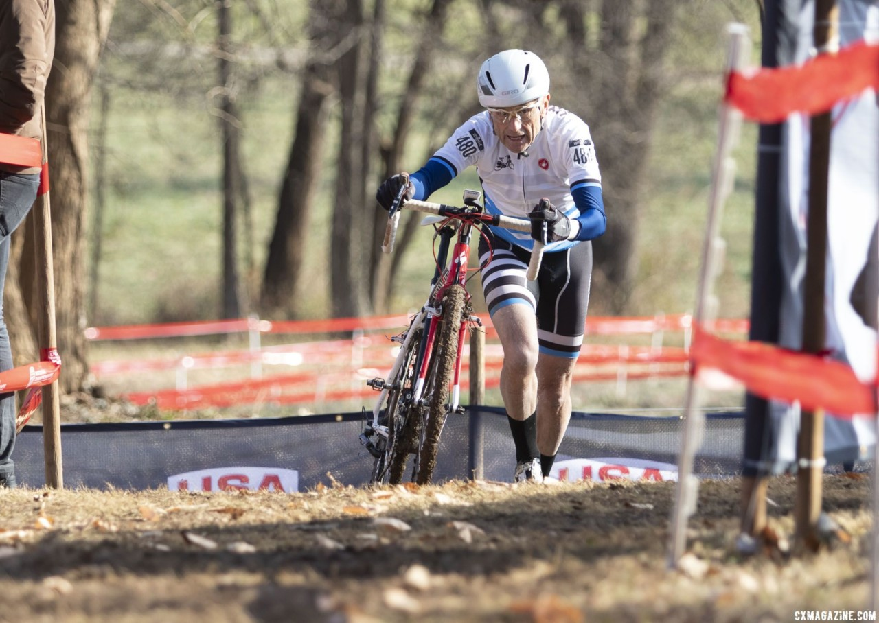 John Ruger pushes through. Masters Men, 70+. 2018 Cyclocross National Championships, Louisville, KY. © A. Yee / Cyclocross Magazine