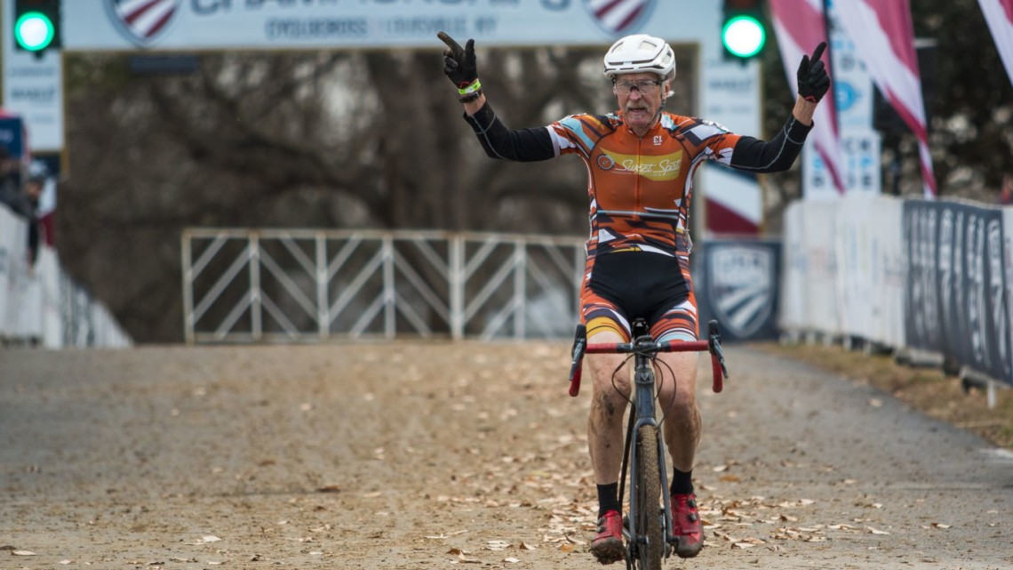 Fred Wittwer celebrates his win. Masters Men 65-69. 2018 Cyclocross National Championships, Louisville, KY. © A. Yee / Cyclocross Magazine