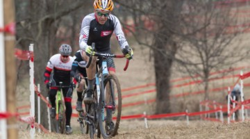 Lee Waldman rides up one of the hills. Masters Men 65-69. 2018 Cyclocross National Championships, Louisville, KY. © A. Yee / Cyclocross Magazine