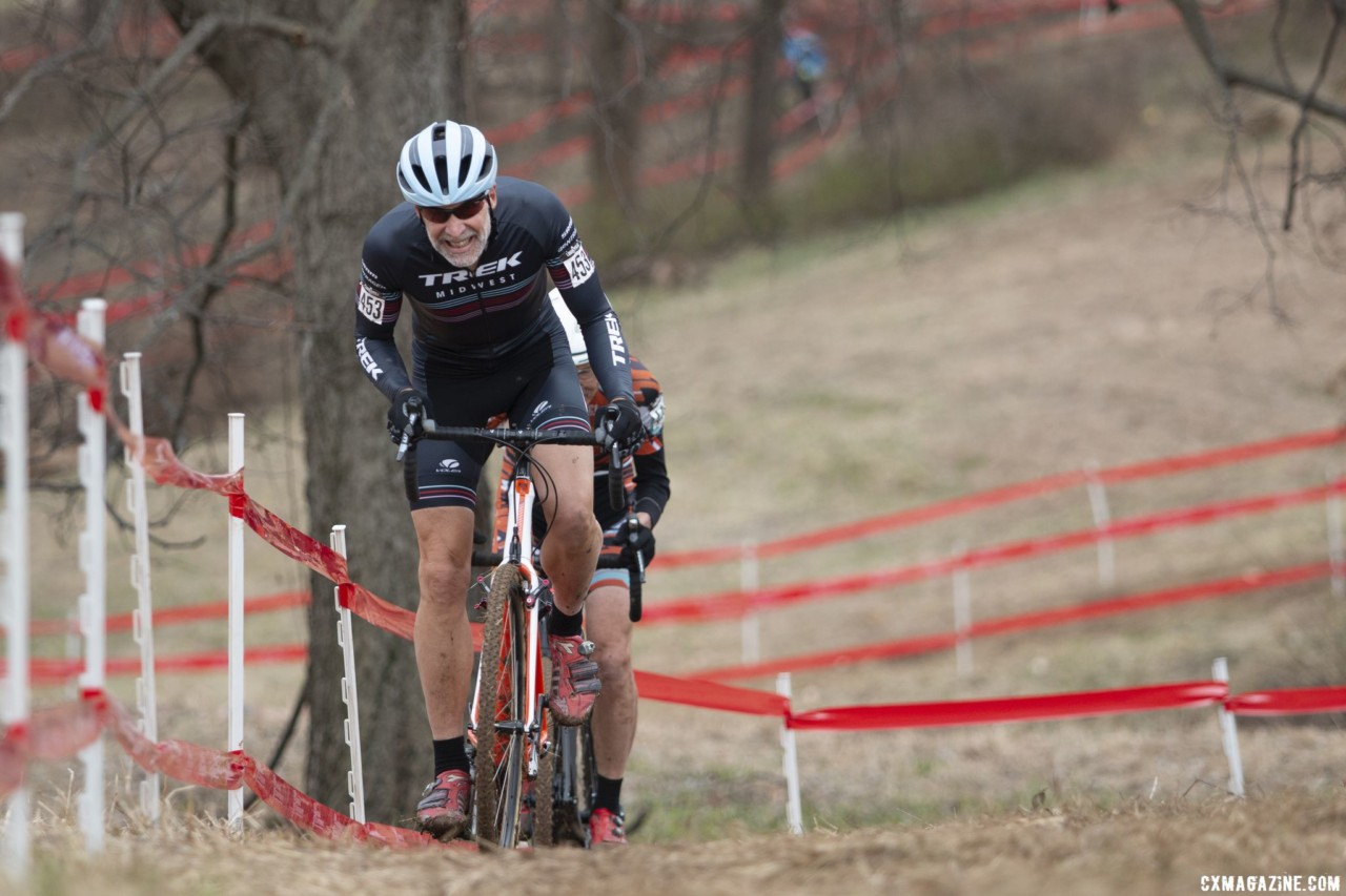 Glen Jones rode to second on Wednesday. Masters Men 65-69. 2018 Cyclocross National Championships, Louisville, KY. © A. Yee / Cyclocross Magazine