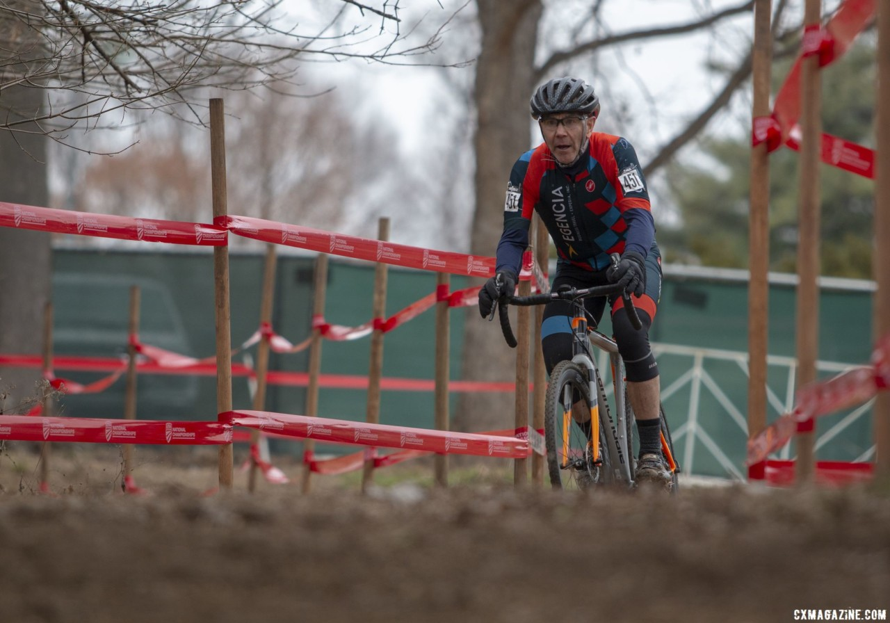 Kevin Johnson had a big lead early on. Masters Men 65-69. 2018 Cyclocross National Championships, Louisville, KY. © A. Yee / Cyclocross Magazine