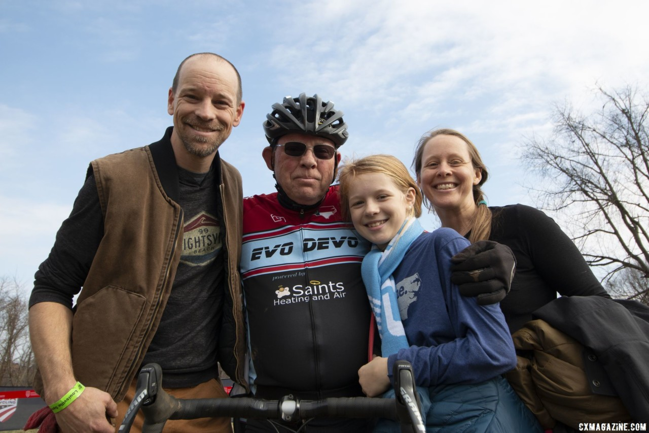 Paul McKeithan celebrates with his family. Masters Men 75-79. 2018 Cyclocross National Championships, Louisville, KY. © A. Yee / Cyclocross Magazine