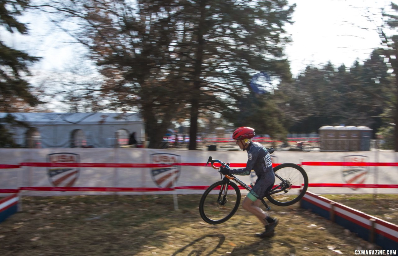 John Elgart hits the barriers. Masters Men 65-69. 2018 Cyclocross National Championships, Louisville, KY. © A. Yee / Cyclocross Magazine