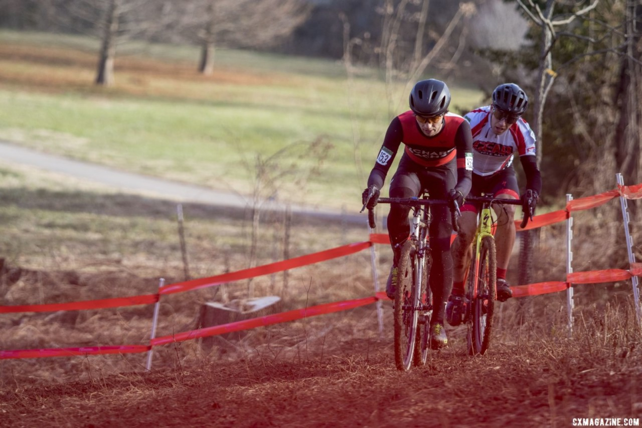 Chabanov and Mullins were off the front the first half of the race. Masters Men 30-34. 2018 Cyclocross National Championships, Louisville, KY. © A. Yee / Cyclocross Magazine