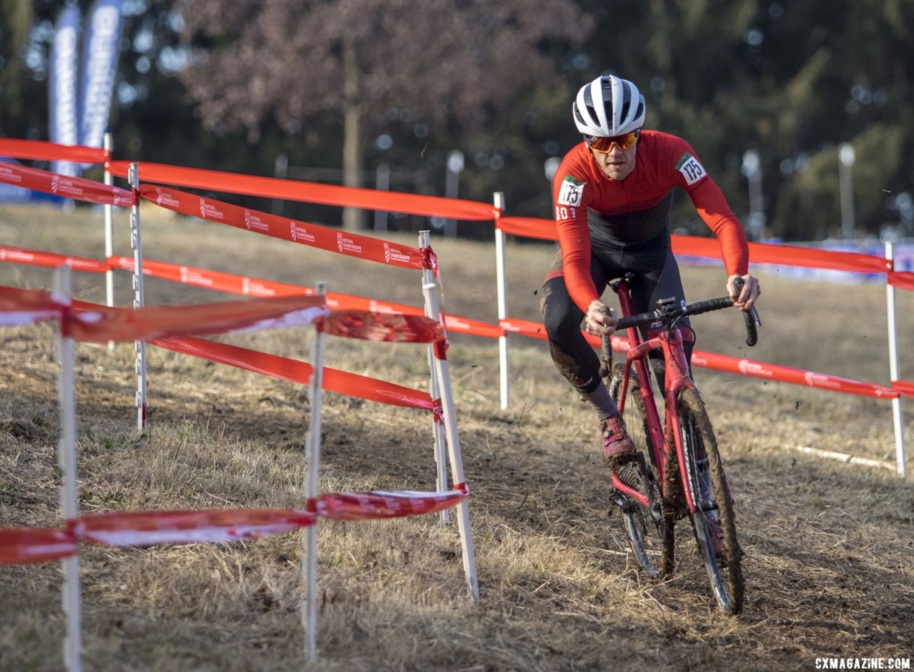 Bryan Fosler rode onto the podium. Masters Men 30-34. 2018 Cyclocross National Championships, Louisville, KY. © A. Yee / Cyclocross Magazine