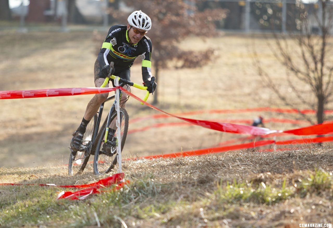 Phillip Kenealy gave chase and finished second. Masters Men 60-64. 2018 Cyclocross National Championships, Louisville, KY. © A. Yee / Cyclocross Magazine