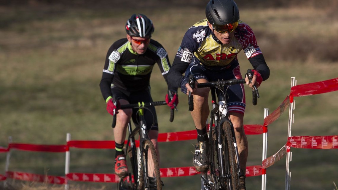 Trojan and Callahan chasing Kenealy. Masters Men 60-64. 2018 Cyclocross National Championships, Louisville, KY. © A. Yee / Cyclocross Magazine