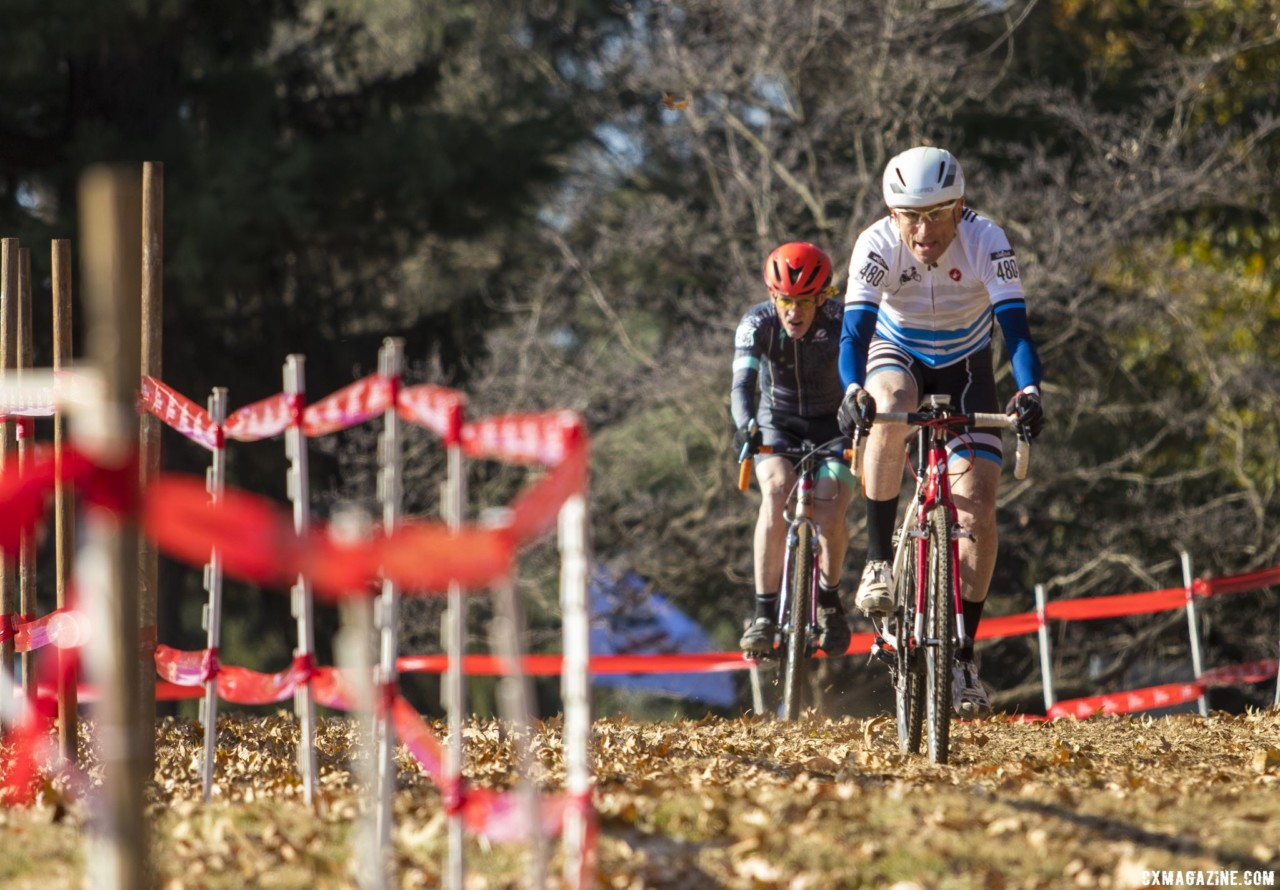 John Ruger leads John Elgart. Masters Men 70+. 2018 Cyclocross National Championships, Louisville, KY. © A. Yee / Cyclocross Magazine