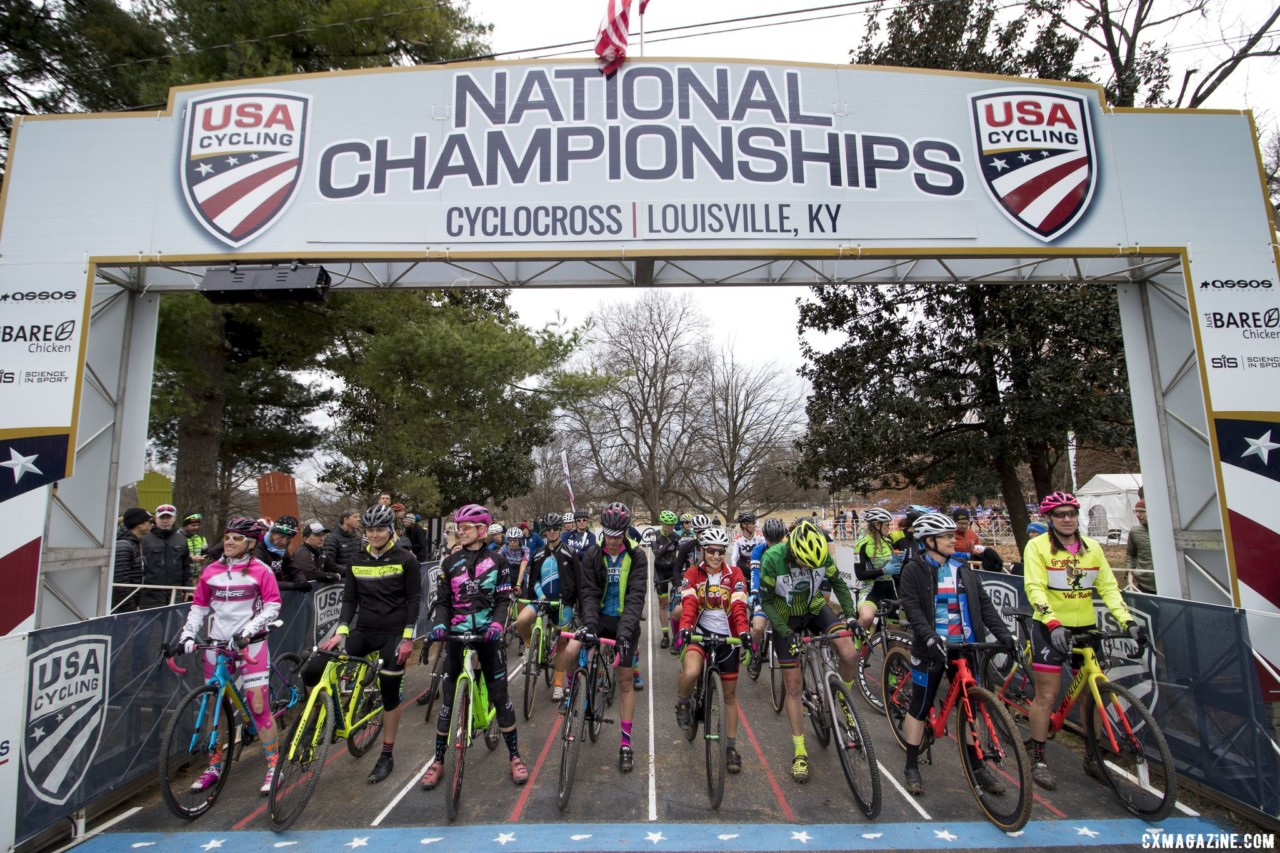 The Masters Women 45-49 category drew a field of 27 racers to Louisville. Masters Women 45-49. 2018 Cyclocross National Championships, Louisville, KY. © A. Yee / Cyclocross Magazine