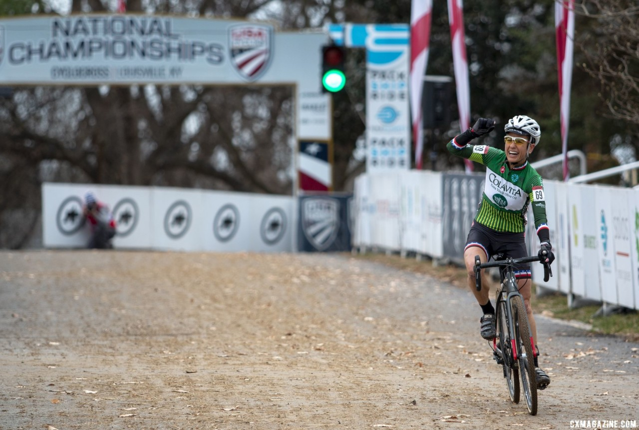Stacey Barbossa defended her national title, winning with a minute gap to second place Andrea Cox. Masters Women 50-54. 2018 Cyclocross National Championships, Louisville, KY. © A. Yee / Cyclocross Magazine