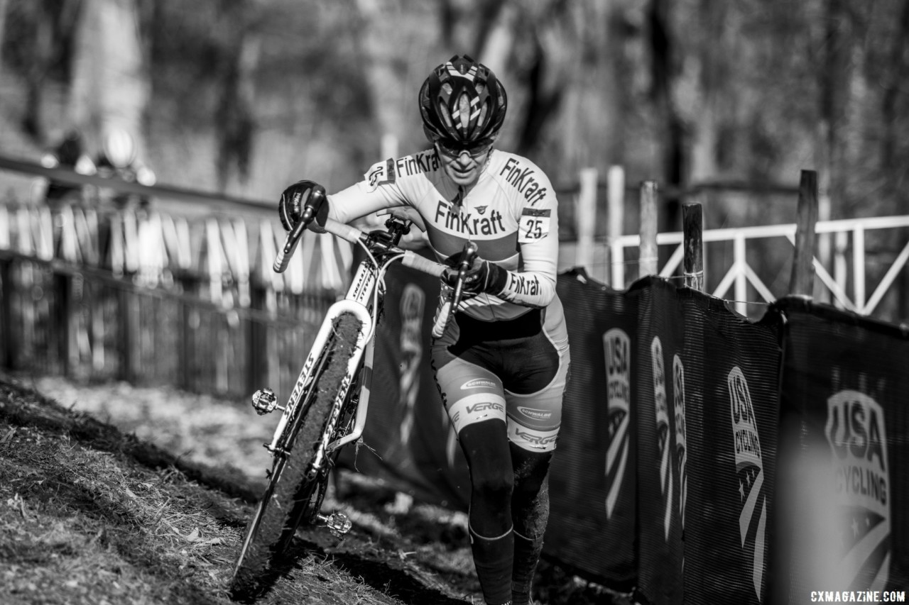 Karen Tripp rode and ran to a national championship Wednesday. Masters Women 60-64, 65-69, 70-74, 75+. 2018 Cyclocross National Championships, Louisville, KY. © A. Yee / Cyclocross Magazine