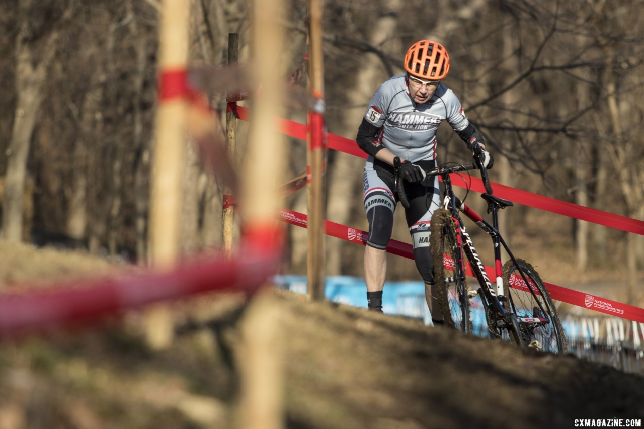 Margaret Thompson tackles the off-camber. Masters Women 60-64, 65-69, 70-74, 75+. 2018 Cyclocross National Championships, Louisville, KY. © A. Yee / Cyclocross Magazine